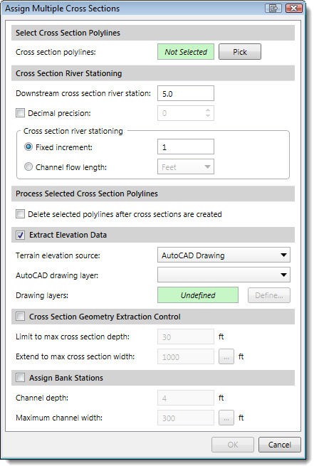 Assign Multiple Cross Sections dialog box