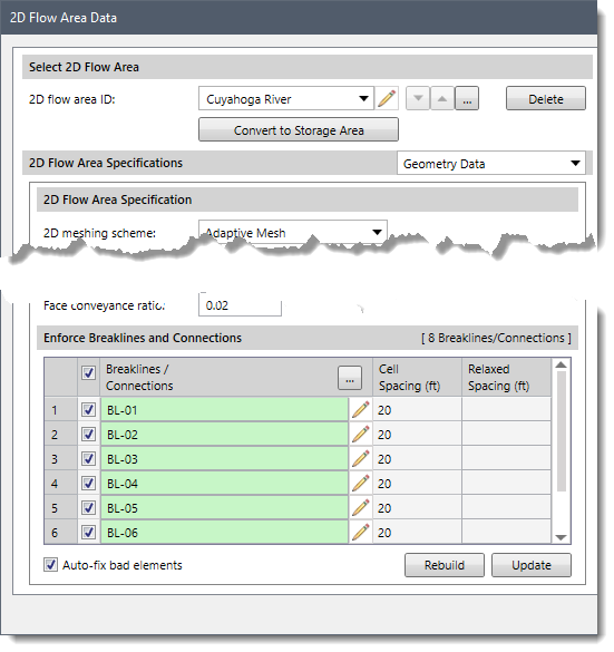 2D Flow Area Breakline Data dialog box