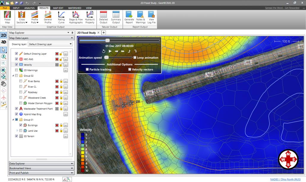 Flood Hazard Mapping, 2D Velocity Map