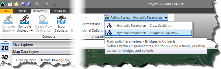 Analysis Ribbon Menu - Hydraulic Parameters - Bridge and Culverts