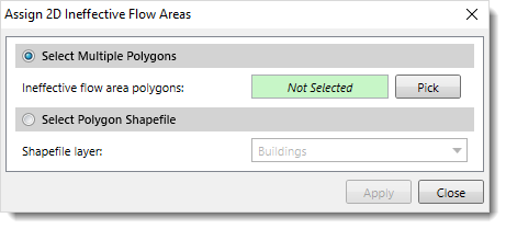 Assign 2D Ineffective Flow Areas dialog box