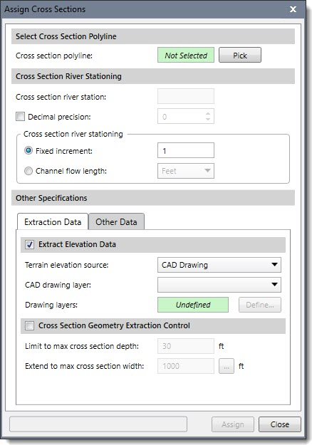 Assign cross sections dialog box