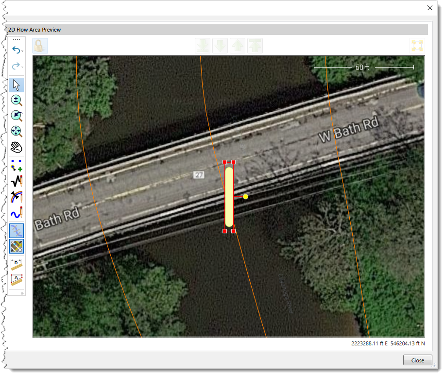 Bridge Pier on the 2D Flow Area Preview window