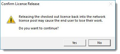 Confirm License Release dialog box
