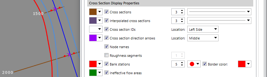 Cross Section Directional Arrows