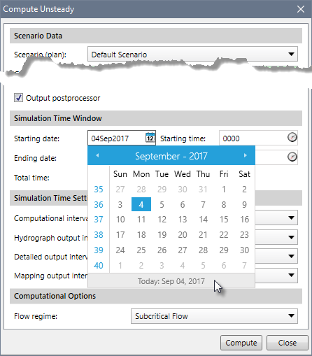 Date Selection Dialog Box