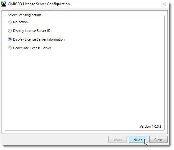 Select licensing option | CivilGEO License Server Configuration