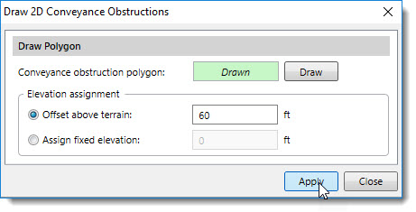 Draw 2D Conveyance Obstructions dialog box-2