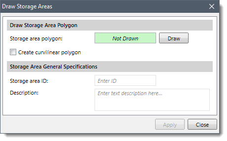 Draw a Storage Areas dialog box