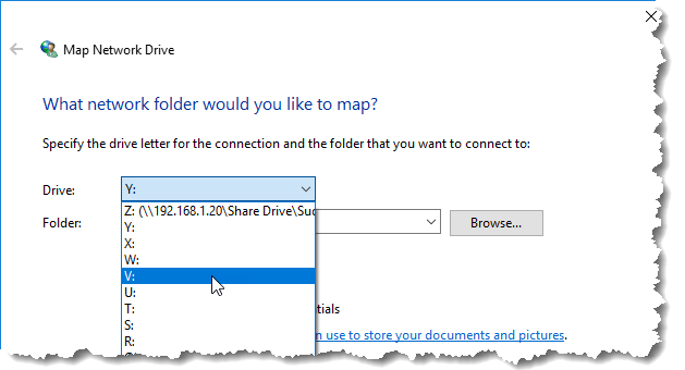 What network folder would you like to map?