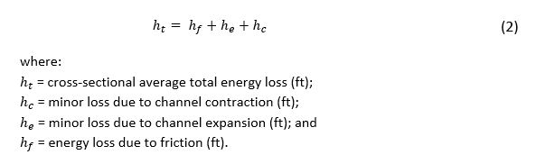 The total energy loss in a reach