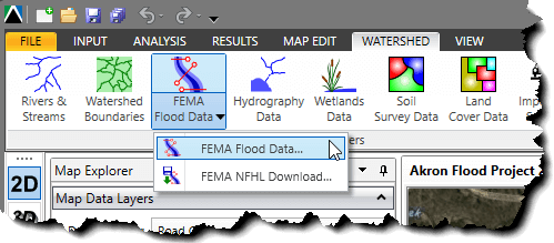 FEMA Flood Data menu