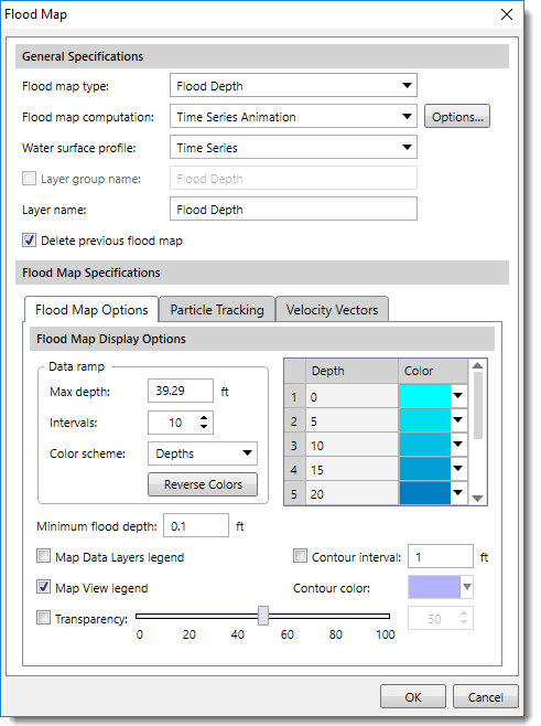 Flood Map dialog box