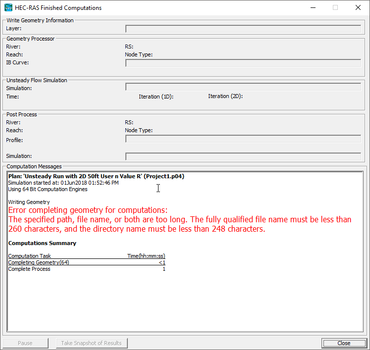 HEC-RAS File Name & Directory Path Issues