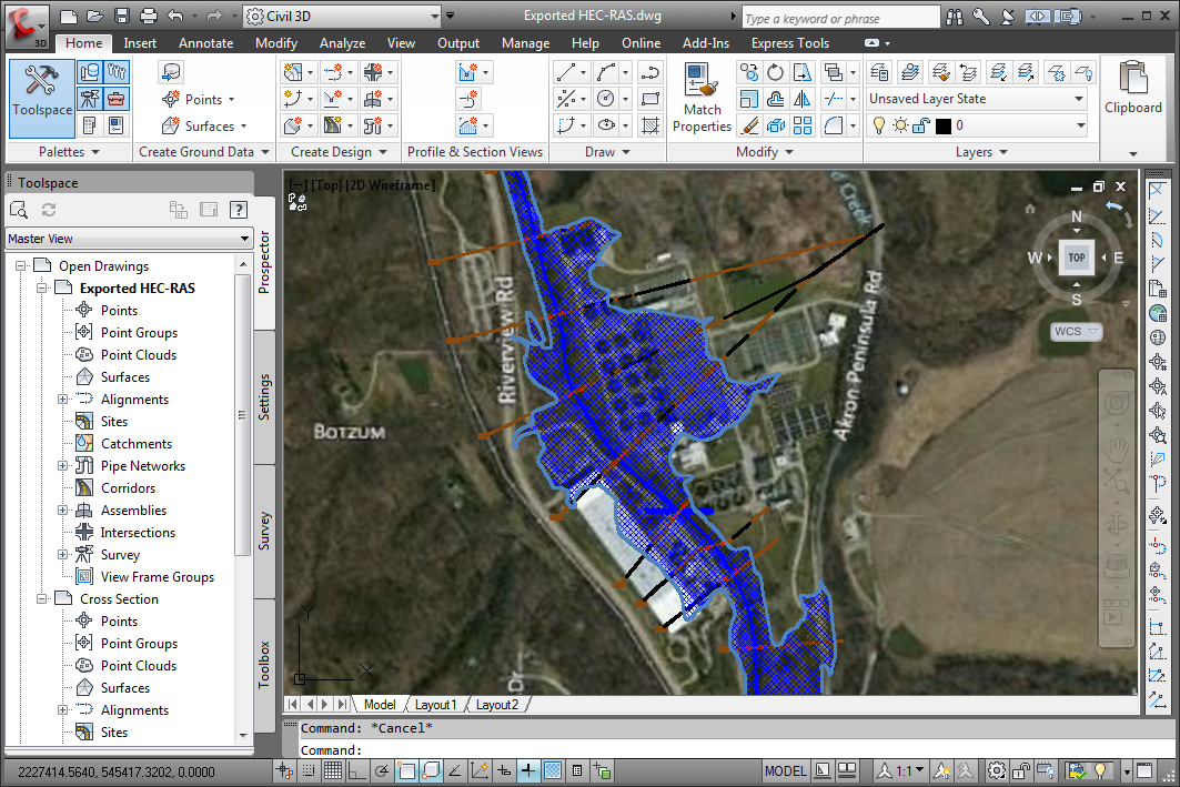Hec ras cross sections and flood maps integrate hec ras directly with autocad drawing files and esri arcgis map data gumiabroncs Gallery
