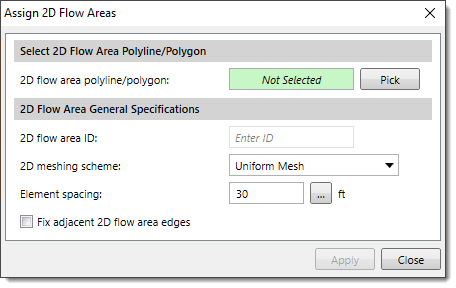 Assign 2D Flow Areas dialog box