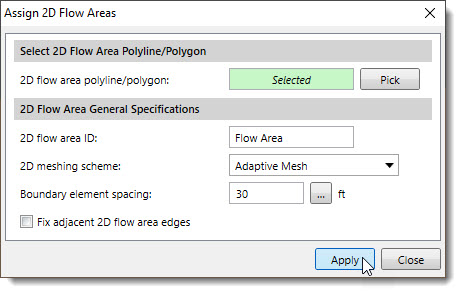 assign the polygon as a 2D flow area