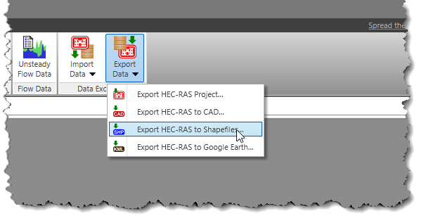 Export HEC-RAS to Shapefiles command