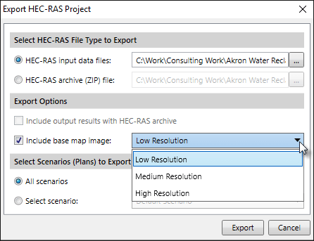 Increased Base Map Resolution for Exported HEC-RAS Models
