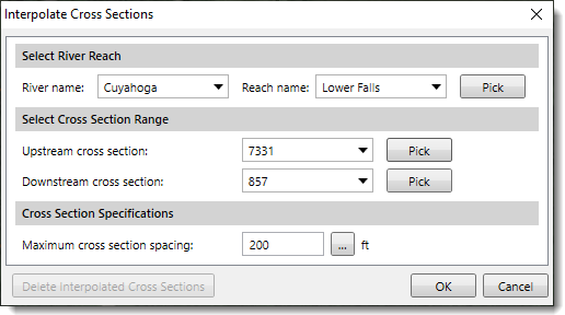 The Interpolate Cross Sections dialog box