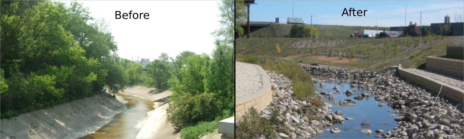 A side by side comparison of the Kinnickinnic River in Northwest Wisconsin