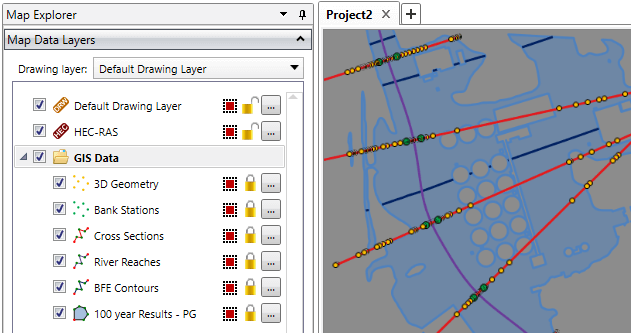 HEC-RAS Map Data Layer Panel GIS Object Display