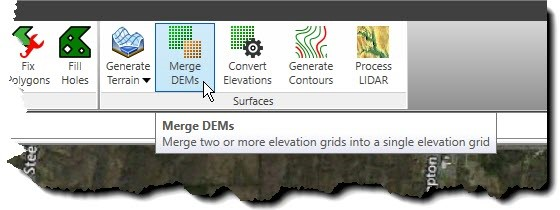 Merge DEMs ribbon menu