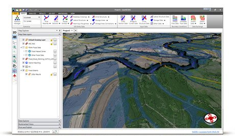 Blend Google or Bing online maps and high-resolution aerial imagery files directly into the HEC‑RAS model.
