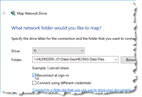 Reconnect at sign-in check box