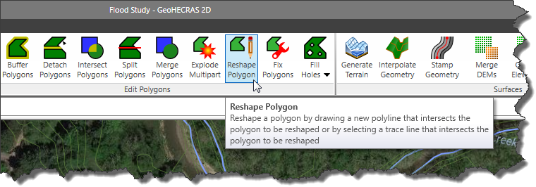 Reshape Polygon menu command