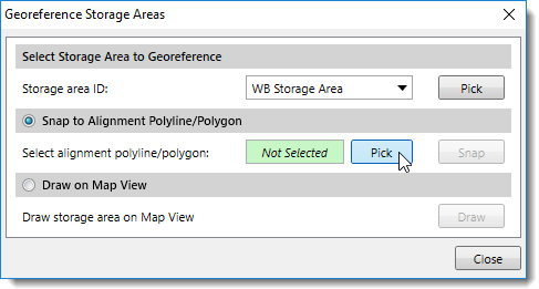 Select Alignment Polyline or Polygon for Snapping