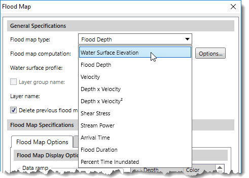Selecting Water Surface Elevation option