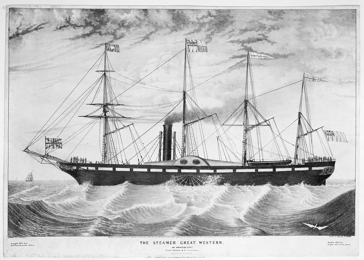 A lithograph depicting the 'Great Western', which was the first purpose-built transatlantic steamship.