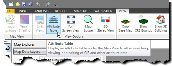 Select Attribute Table from the view ribbon menu