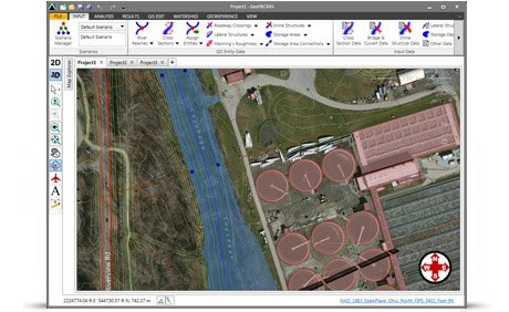 Generate floodplain and floodway mapping from HEC‑RAS results and 3D digital elevation terrain data.