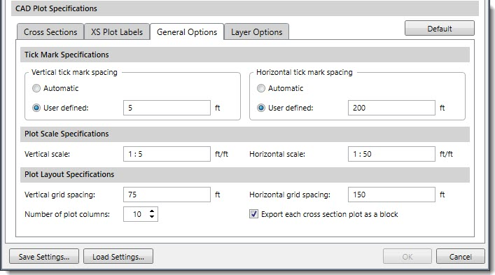 General Options can be used to specify the tick mark spacing, scaling, and cross section array layout to be used when exporting the cross sections