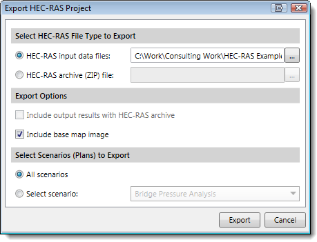 Export a HEC-RAS Project/Model dialog box
