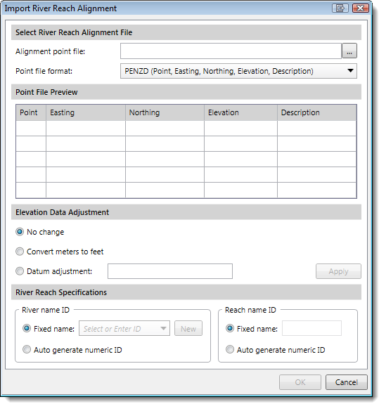 Import River Reach Alignment dialog box