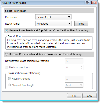 Reverse River Reach dialog box