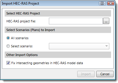 Import HEC‑RAS Project/Model dialog box