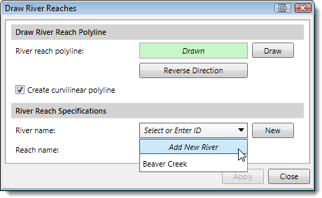 Draw River Reaches Select Reach dialog box