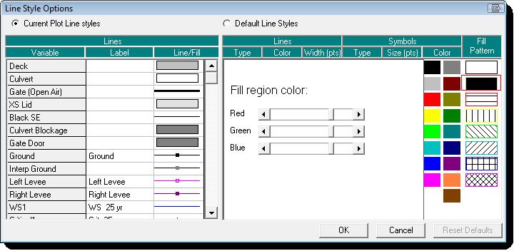 Profile Plot Line Symbol Fill Options