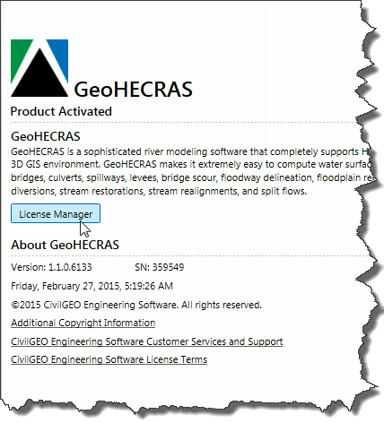 GeoHECRAS License Manager