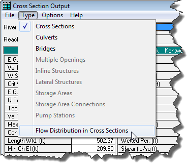 Detailed Output - Flow Distribution in Cross Sections