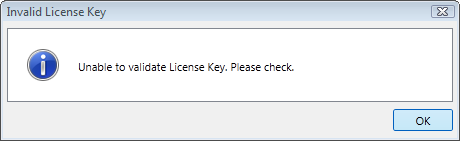 Invalid License Key