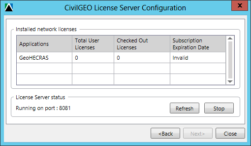 CivilGEO License Server Configuration - GeoHECRAS