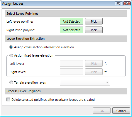 Assign Levees dialog box