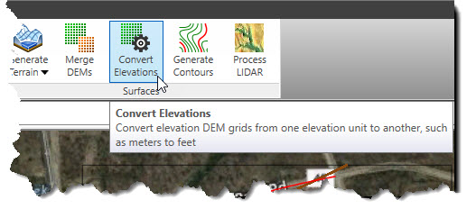 Select the Convert Elevations command