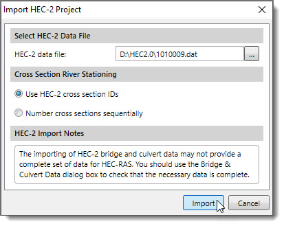 Import HEC-2 Project into HEC-RAS dialog box