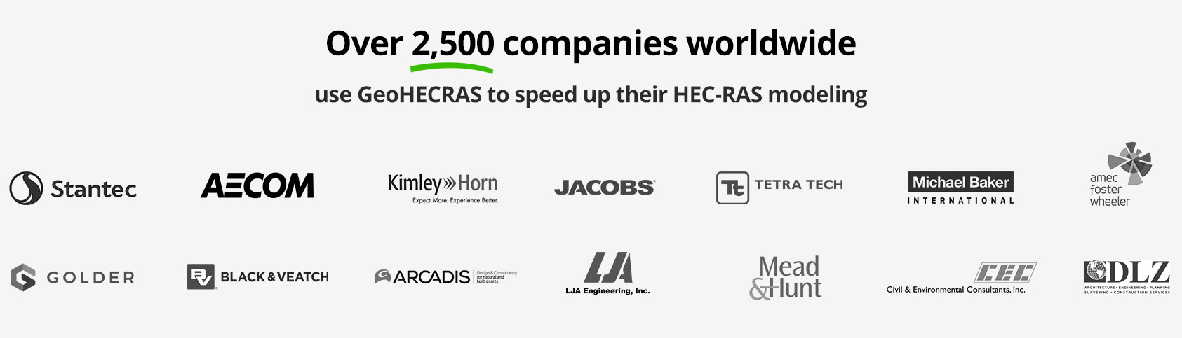 Over 2500 companies like Stantec, AECOM, Kimley Horn, Jacobs, Tetra Tech, Michael Baker, Amec Foster Wheeler, Golder use our HEC-RAS and HEC-HMS software to speed up their engineering workflows